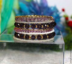 """Купить Многорядный браслет """"Золото. Фиолент"""" - фиолетовый, браслет, многорядный браслет, многоярусный браслет, недорого"""