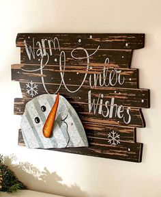 Snowman Warm Winter Wishes Sign Wall Door Hanging Winter Christmas Rustic Decor Wood Christmas Tree, Outdoor Christmas, Winter Christmas, Rustic Christmas, Pallet Christmas, Christmas Canvas, Beach Christmas, Christmas Porch, Christmas 2017