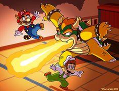 Mario and Luigi VS Bowser  by ~captainsponge