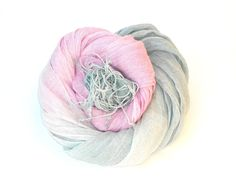 Pink and Grey Linen Scarf Womens Ombre Scarf hand by Schalrausch