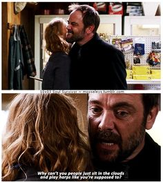 """10x03 Soul Survivor [gifset] - """"Why can't you people just sit in the clouds and play harps like you're supposed to?"""" - Crowley and that other Angel (Adina)  Supernatural"""