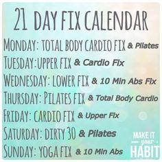 21 Day Fix Workout Calendar - Doubles Option 2 week diet 21 days 21 Day Workout, 21 Day Fix Workouts, Workout Schedule, Workout Guide, Workout Log, Wednesday Workout, Body Workouts, Workout Plans, Workout Ideas