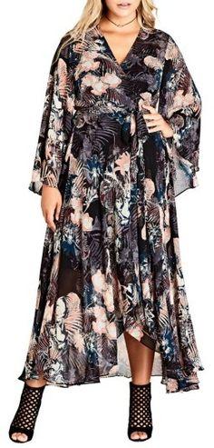 Plus Size Women's City Chic Dark Palm Wrap Maxi Dress