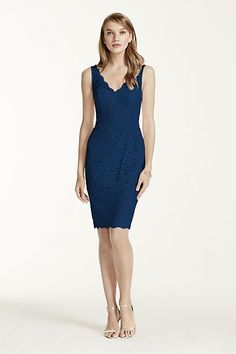 David's Bridal Short Tank Lace Dress with V Neckline navy bridesmaid dress lace short bridesmaids dress available in a variety of different colors