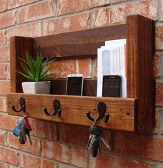 Rustic Entryway Foyer 3 Hanger Hook Coat Rack + Mail Holder Phone Key Organizer