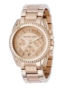 Michael Kors Rose Gold Watch. Available at http://www.luxury-totes.com/michael-kors-rose-gold