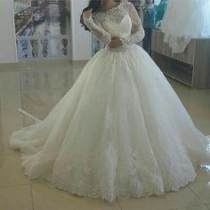 2015 Lace Wedding Dresses With Long Sleeves Sheer Wedding Gowns Appliques Spring Winter Cheap Bridal Princess Ball Gown Wedding Dresses Romantic Lace Wedding Dresses Wedding Dress Brand From Andybridal, $164.95| Dhgate.Com