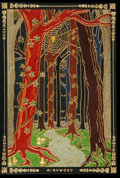 """The full morocco front and rear doublures are bordered, titled, and accented in gilt, created in an intricate mosaic of many colored on-laid morocco depicting two imaginary landscapes from the book, """"Rivendell"""" and """"Mirkwood"""".     The binder made a small mistake and wrote """"Riverdell"""", but it ressembles very well Tolkien's own interpetation of the valley."""