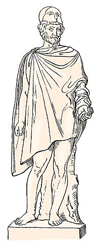 The chlamys was one of the few items of ancient Greek clothing worn exclusively by men. It was a short cape, fashioned, like most Greek styles, from a single rectangle of fabric fastened with a pin at one shoulder. Woven of coarse woolen cloth, the chlamys offered the wearer warmth and protection from the weather, while still giving freedom of movement to the active Greek man.  *2 pins