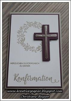 Kreatives aus Papier, Konfirmation, Karten Confirmation Cards, Baptism Cards, Bar Mitzvah, Stamping Up, Stampin Up Cards, Frame, Handmade, Crafts, Ideas