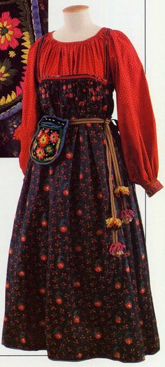 Simple Sarafan, here with belt. http://folkcostume.blogspot.co.uk/  FolkCostume: The 5 types of Russian folk Costume