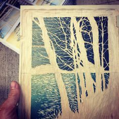 "214 Likes, 1 Comments - Nick Wroblewski (@woodcutnick) on Instagram: ""Gotta add some lake in this print. The bottom of the block, carved wave ripple texture. #woodcut…"""