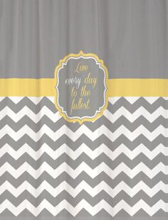 """Shower Curtain - Cool Gray Half Chevron with Butter Yellow Accents - 69x70"""" - Favorite Quotation Custom for Your Bathroom. $69.00, via Etsy."""