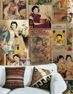Vintage Oriental Lady Wallpaper Retro Advertisment by DreamyWall