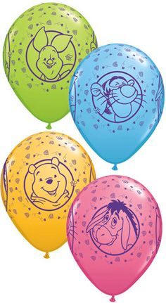 5 - Latex Winnie The Pooh Party Balloons birthday party supplies eeyore Piglet Tigger on Etsy, $2.95