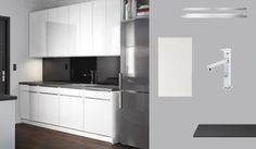 FAKTUM kitchen with ABSTRAKT white high-gloss doors and PRÄGEL black stone effect worktop