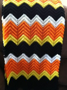 Free shipping in the USA!Halloween is almost here! So why not decorate with this beautiful festive Halloween Afghan.This warm and cozy heirloom afghan is hand crocheted using a vintage ripple pattern ..