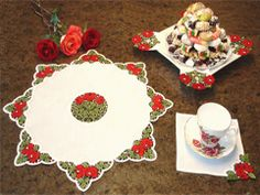 Project Idea with  Rose Lace for Table Embroidery Designs