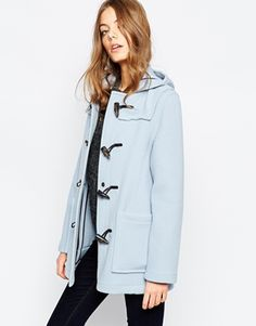 Gloverall Short Duffle Coat in Sky Blue