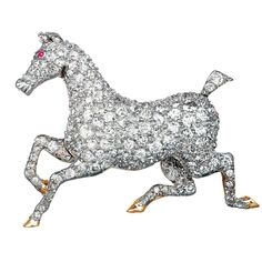 Edwardian Diamond Horse Pin Platinum on 18 karat yellow gold antique diamond horse pin consisting of approximately carats total weight total weight of old European cut diamonds. Equestrian Jewelry, Horse Jewelry, Animal Jewelry, Jewelry Art, Gemstone Brooch, Diamond Brooch, Diamond Jewelry, Edwardian Jewelry, Antique Jewelry