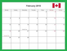 February 2018 Excel Word PDF Calendar Download