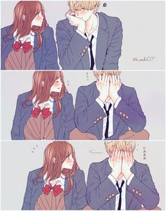 Dil m ho tm. Anime Cupples, Anime Kiss, Fanarts Anime, Anime Comics, Kawaii Anime, Anime Characters, Anime Art, Cute Couple Comics, Cute Couple Art