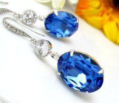Bright Blue Earrings Swarovski Crystal Sapphire Dangle Earrings Cubic Zirconia Hypoallergenic Something Blue Bridal Earrings Cobalt Blue