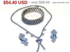 New Listings Daily - Follow Us for UpDates -  Summer Sizzler Sale Blue Rhinestone Set - #Vintage Necklace Earrings and Bracelet - Something for the Bride's Wedding Day offered by TheJewelSeeker.    This is a lovely grou... #vintage #jewelry #teamlove #etsyretwt ➡️ http://etsy.me/2u2Ezp7