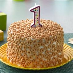 Looking for a unique way to celebrate your little one's first birthday? Make a Cheerios First Birthday Cake for the special day! Cheerios, a familiar first food for babies, is a natural fit for a first birthday cake.