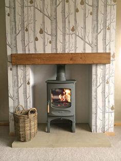 Cole & Son Wood & Pears wallpaper on chimney breast. Log Burner Fireplace, Fireplace Hearth, Wood Burner, Wood Mantle, Fireplace Ideas, My Living Room, Home And Living, Living Room Decor, Woodland Living Room
