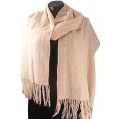"""Artist: Fay Brooks - """"Handwoven Fine Shawl: Originally designed and handwoven Fine Cotton Shawl, of of 3 varieties, 18"""" wide by 87"""" long, with a 5"""" tied fringe. It is designed with over 20 types of textured yarn, is lightweight, travels well, and is washable. $120"""""""