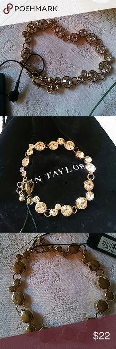 Ann Taylor Soft Peach Bezel Set Rhinestone Bracele Very pretty. Very soft pastel peach tone rhinestones. Adjustable. Lobster claw closure. Gold tone. Never worn. Ann Taylor Jewelry Bracelets