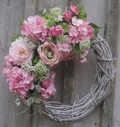 Spring Wreath Easter Wreath Country French by NewEnglandWreath.Oh So Pretty! Wreath Crafts, Diy Wreath, Grapevine Wreath, Tulle Wreath, Hydrangea Wreath, Wreaths For Front Door, Door Wreaths, Ribbon Wreaths, Yarn Wreaths