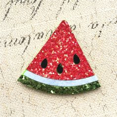 $24.11 (Buy here: http://appdeal.ru/5vvh ) Glitter Red Watermelon Piece Shape Fabric Patch Stickers Girls Hair Jewelry Headband Decoration Material Fabric Button Stickers for just $24.11