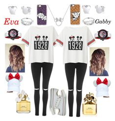 """""""💙Disney land"""" by gdonaldson ❤ liked on Polyvore featuring Topshop, Uniqlo, Casetify, Marc Jacobs, Pandora, Disney, Converse and Invicta"""