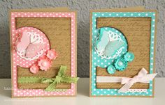 handmade cards ... one pink and one turquoise with kraft ... polka dot paper ... off the edge negative space circle ... landing place for die cut butterfly with raised wings ... like the trio of liittle flower in the main color ... ribbon wrappin with bow on the top layer