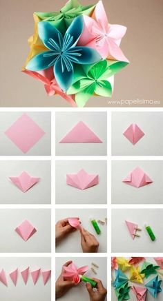 We've always wanted to build origami shapes, but it looked too hard to learn. Turns out we were wrong, we found these awesome origami shapes. Gow to assemble a flower ball 30 Tutorials Are Easy To Create Origami Discover thousands of images about DIY Instruções Origami, Origami Star Box, Origami Fish, Origami Design, Oragami, Paper Flowers Diy, Diy Paper, Paper Crafting, Origami Instructions