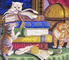 Вышивка Котята с книгами