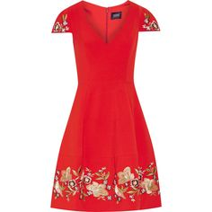 Marchesa Notte Embroidered stretch-crepe mini dress ($1,025) ❤ liked on Polyvore featuring dresses, red, red floral dress, metallic dress, floral print dress, red mini dress and fit and flare dress