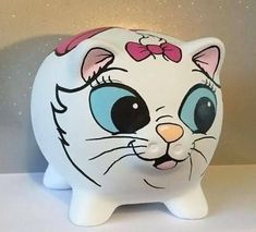 Disney inspired Marie from Aristacrats Painted Piggy Bank money box Gift Pebble Painting, Pottery Painting, Ceramic Painting, Pig Bank, Baby Piglets, Personalized Piggy Bank, Toddler Themes, Mini Pigs, Little Monkeys