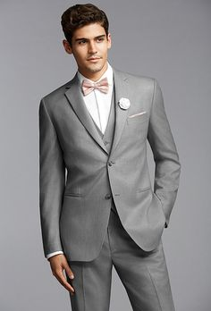 Pronto Uomo's gray two-button notch lapel suit from @menswearhouse   Brides.com