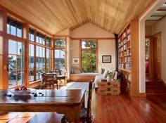 There's something about the shape of this room, and the beautiful wood used, that makes it look like a modern version of painter Carl Larsson's house. Traditional living room by Sullivan Conard Architects Pacific Northwest Style, South Pacific, Sweet Home, Wood Ceilings, Ceiling Windows, Big Windows, Transom Windows, Wood Windows, Living Roofs