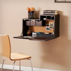 Southern Enterprises Dover Wall Mount Desk in Black/Chocolate Brown Wall Mounted Desk, Wall Desk, Floating Desk, Apartment Makeover, Traditional Furniture, Home Office Furniture, Small Apartments, Space Saving, Decoration