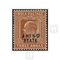 "King Edward VII | Type	: Definitive |  Stamp Name: King Edward VII |  Stamp Issue Date: 1903-09 |  Stamp Colour: orange-brown |  Face Value: 3 annas |  Stamp Printed At: Government of India Central Printing Press, Calcutta |  Printing Process: Typography |  Description: Overprinted with ""JHIND STATE"" in two rows 
