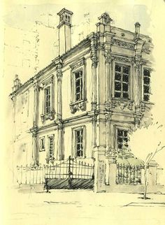 #ArchitectureSketch, pen and ink, beautiful old building