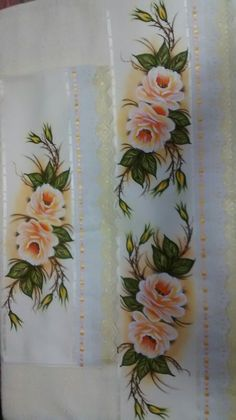 Toalhas Beautiful Paintings, Beautiful Landscapes, Fabric Painting, Hand Embroidery, Rose, Hand Painted, Cool Stuff, Sewing, Flowers