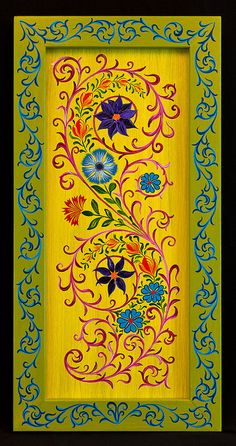 Just stunning. Love the flowers, colours of flowers, curly vines. A bit too 'full' though, for this project. Would like a bit more negative space. One Stroke Painting, Tole Painting, Painting On Wood, Hand Painted Furniture, Art Furniture, Floor Cloth, Painted Doors, Bohemian Decor, Painting Inspiration