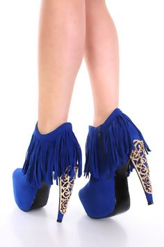 Royal Blue Faux Suede Fringe Gold Decor High Heel Booties - Booties - SHOES