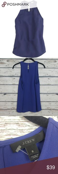 """J. Crew Crepe Racer Tank Top Sz 6 Small Purple J. Crew Crepe Racer Tank Top Sz 6 Small Purple. Excellent Pre Worn. Perfect for Spring/Summer.   Fabric is 100% viscose  Measurements are below, taken straight across with the garment laying flat.  Bust - 17"""" Length - 26""""  My home is smoke free J. Crew Tops Tank Tops"""