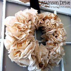{Tea-Stained} Coffee Filter Wreath   Atkinson Drive